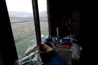 Provisions in the window at Bearnais Bothy