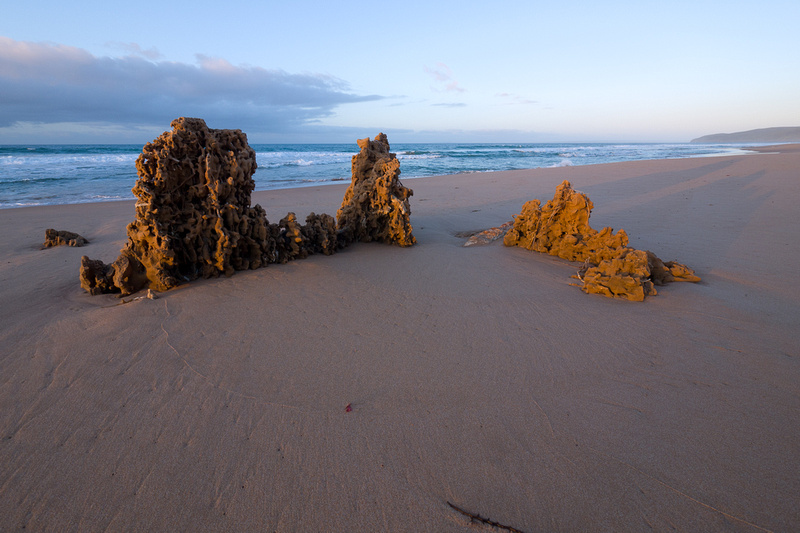 Rocks on Tunkalilla beach at sunrise